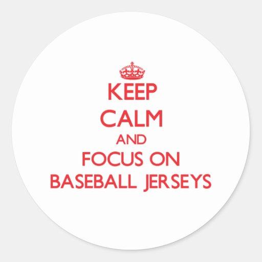 Guarde la calma y el foco en jerseys de béisbol etiqueta redonda