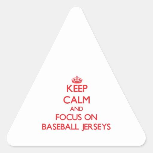 Guarde la calma y el foco en jerseys de béisbol calcomanías triangulos personalizadas