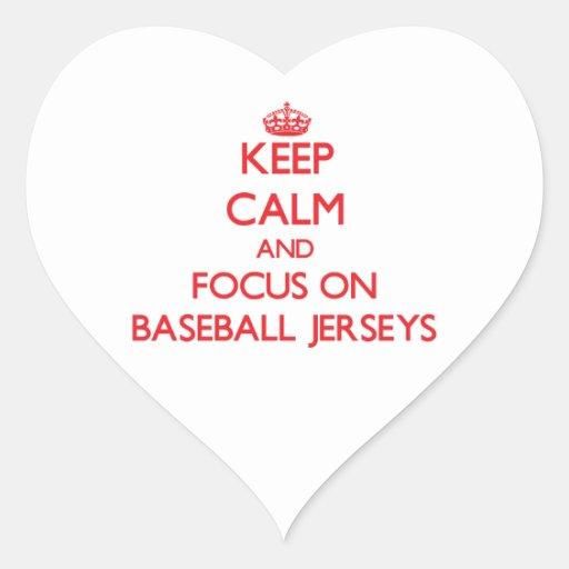 Guarde la calma y el foco en jerseys de béisbol pegatinas de corazon