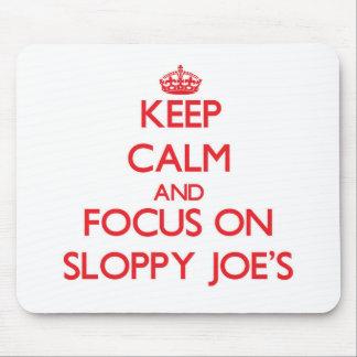 Guarde la calma y el foco en Joe descuidado Tapetes De Ratones