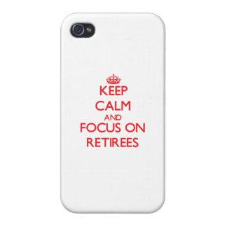 Guarde la calma y el foco en jubilados iPhone 4 protector