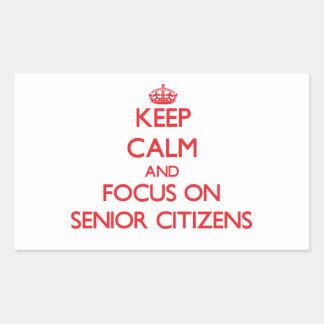 Guarde la calma y el foco en jubilados rectangular altavoces
