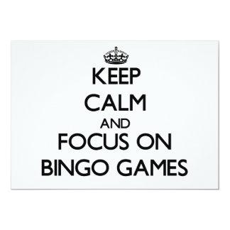 Guarde la calma y el foco en juegos del bingo invitación personalizada