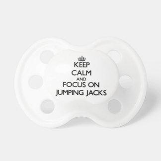 Guarde la calma y el foco en Jumping Jacks Chupetes Para Bebés