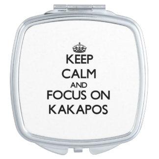 Guarde la calma y el foco en Kakapos Espejo Para El Bolso