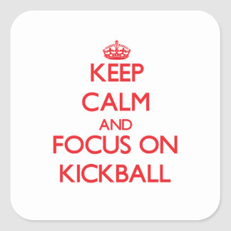 Guarde la calma y el foco en Kickball Colcomanias Cuadradas