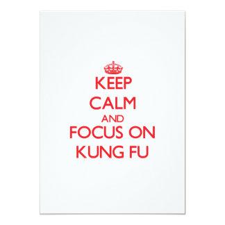 Guarde la calma y el foco en Kung Fu Invitación 12,7 X 17,8 Cm