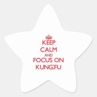 Guarde la calma y el foco en Kung-Fu Pegatinas Forma De Estrellaes Personalizadas