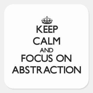 Guarde la calma y el foco en la abstracción calcomanía cuadradas personalizada