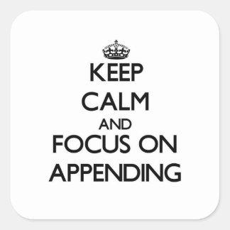 Guarde la calma y el foco en la adición colcomanias cuadradas