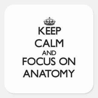 Guarde la calma y el foco en la anatomía pegatina cuadrada
