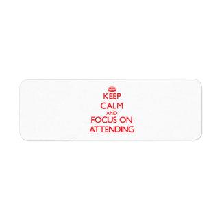 Guarde la calma y el foco en la ASISTENCIA Etiqueta De Remite