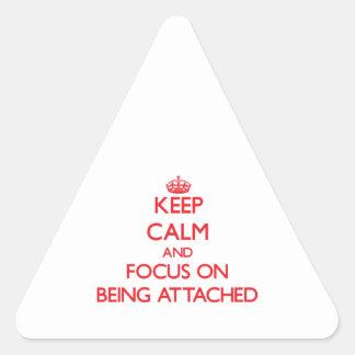 Guarde la calma y el foco en la ATADURA Calcomanías De Triangulos