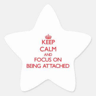 Guarde la calma y el foco en la atadura calcomanías forma de estrella personalizadas