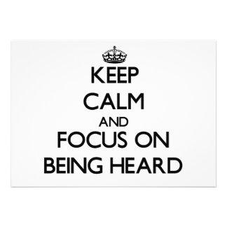 Guarde la calma y el foco en la audición invitaciones personales