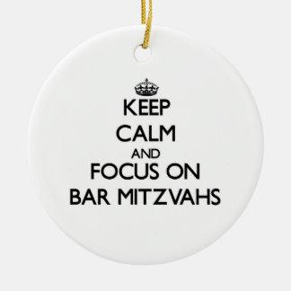 Guarde la calma y el foco en la barra Mitzvahs Adorno De Reyes