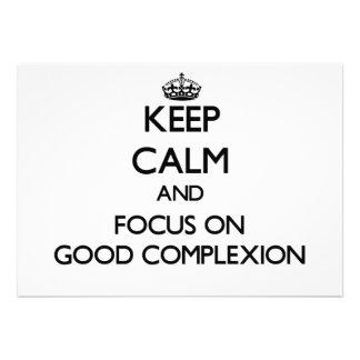 Guarde la calma y el foco en la buena tez invitaciones personalizada
