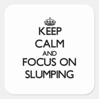 Guarde la calma y el foco en la caída colcomanias cuadradas