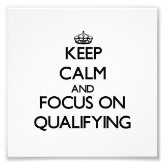 Guarde la calma y el foco en la calificación cojinete