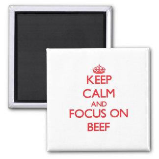 Guarde la calma y el foco en la carne de vaca imanes para frigoríficos