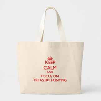 Guarde la calma y el foco en la caza del tesoro bolsas lienzo
