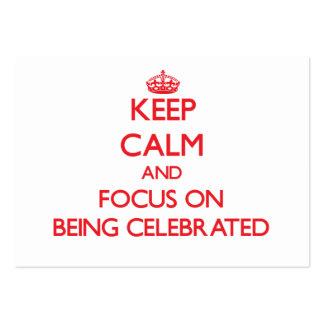 Guarde la calma y el foco en la celebración tarjetas de visita