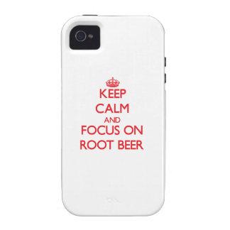Guarde la calma y el foco en la cerveza de raíz vibe iPhone 4 carcasa