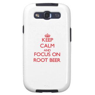 Guarde la calma y el foco en la cerveza de raíz galaxy SIII carcasa