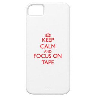 Guarde la calma y el foco en la cinta iPhone 5 funda