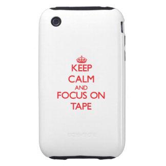Guarde la calma y el foco en la cinta tough iPhone 3 cárcasa