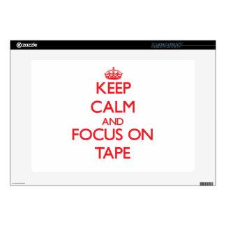 Guarde la calma y el foco en la cinta calcomanía para portátil