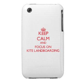 Guarde la calma y el foco en la cometa Landboardin iPhone 3 Case-Mate Protector