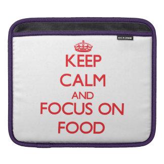 Guarde la calma y el foco en la comida fundas para iPads