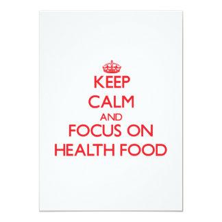 Guarde la calma y el foco en la comida sana anuncio