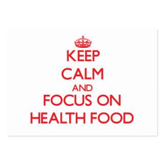 Guarde la calma y el foco en la comida sana tarjetas de visita