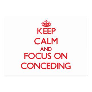 Guarde la calma y el foco en la concesión tarjetas de visita grandes