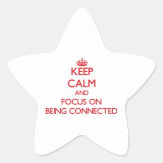 Guarde la calma y el foco en la conexión calcomanias forma de estrella