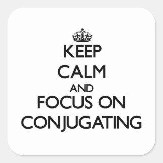 Guarde la calma y el foco en la conjugación calcomanías cuadradases