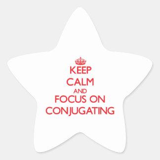 Guarde la calma y el foco en la conjugación pegatina forma de estrella
