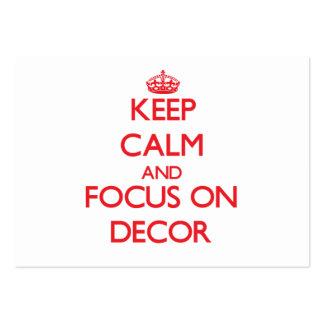 Guarde la calma y el foco en la decoración tarjeta personal