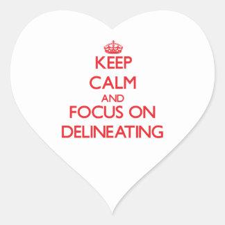 Guarde la calma y el foco en la delineación pegatinas corazon