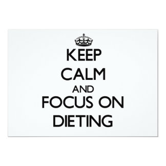 Guarde la calma y el foco en la dieta invitaciones personalizada