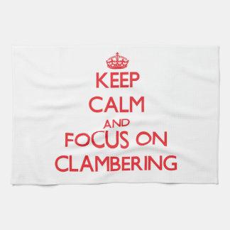 Guarde la calma y el foco en la escalada toallas