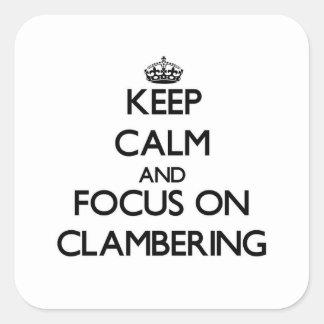 Guarde la calma y el foco en la escalada colcomanias cuadradas