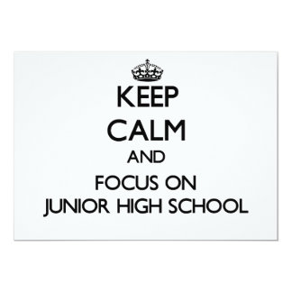 Guarde la calma y el foco en la escuela de invitación 12,7 x 17,8 cm
