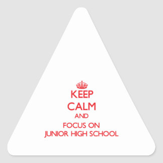 Guarde la calma y el foco en la escuela de pegatina triangular