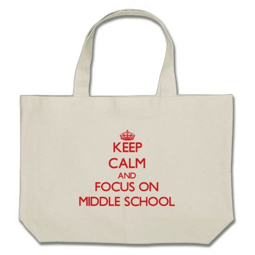Guarde la calma y el foco en la escuela secundaria bolsas lienzo