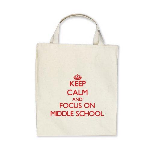 Guarde la calma y el foco en la escuela secundaria bolsa de mano