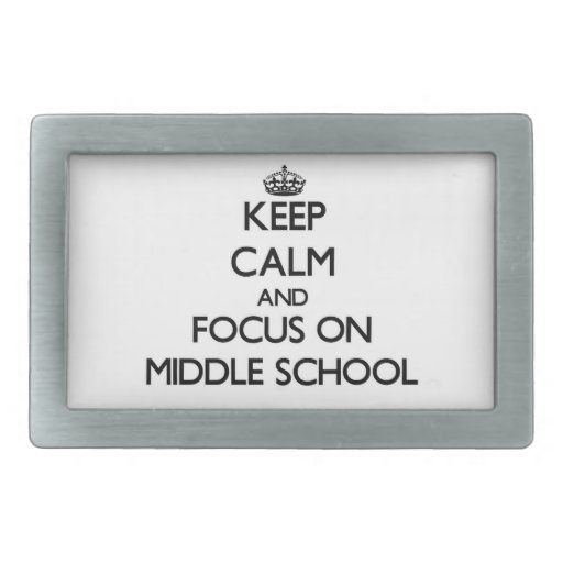 Guarde la calma y el foco en la escuela secundaria hebillas de cinturon rectangulares