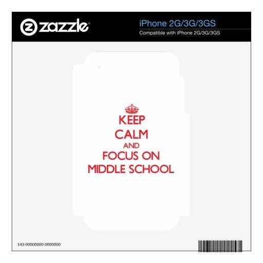 Guarde la calma y el foco en la escuela secundaria calcomanías para iPhone 3G